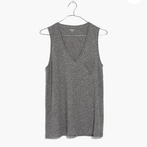 Madewell Whisper Cotton V Neck Pocket Tank Gray